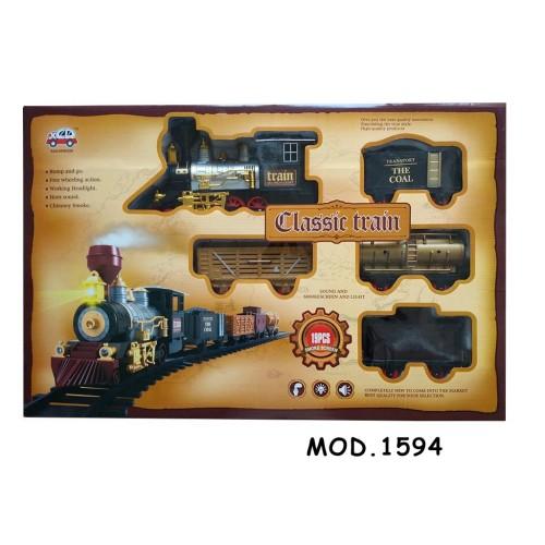 Tren de juguete con locomotora, saca humo y con sonido Mod. 1594