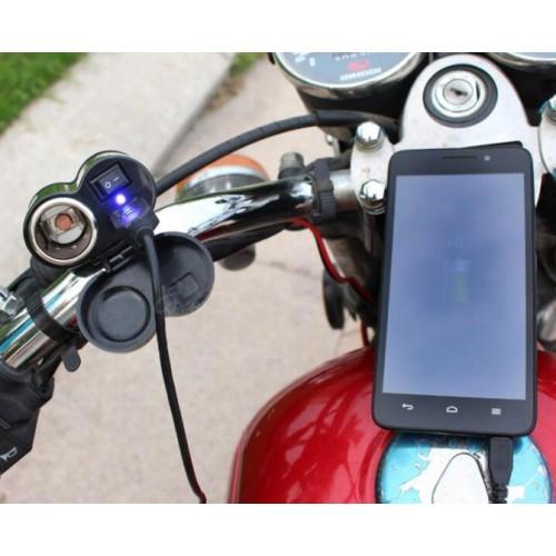 Cargador para motocicleta 2 en 1, cargador para teléfono y encendedor CC27