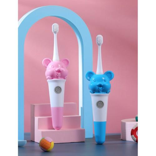 Cepillo de dientes eléctrico para niños figura de ratón pelo suave cabezal de cepillo