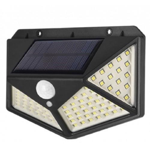 Lámpara 100 LEDS de pared solar para exteriores con sensor DT173