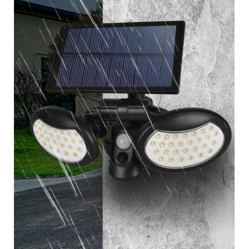 Lámpara de pared con sensor solar 56LED, doble cabezal, iluminación de 360 grados, patio, ahorro de energía, colgante de pared