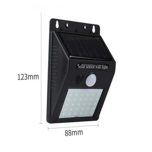 Lámpara 25 LEDS de pared solar para exteriores con sensor DT82