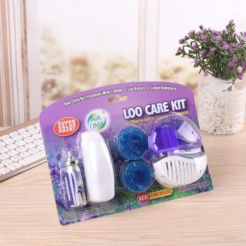Mini ambientador de aerosol de 12 ml/limpiador de inodoro de 55 ml/juego de limpiador de mesas de bloque de inodoro 50G x2