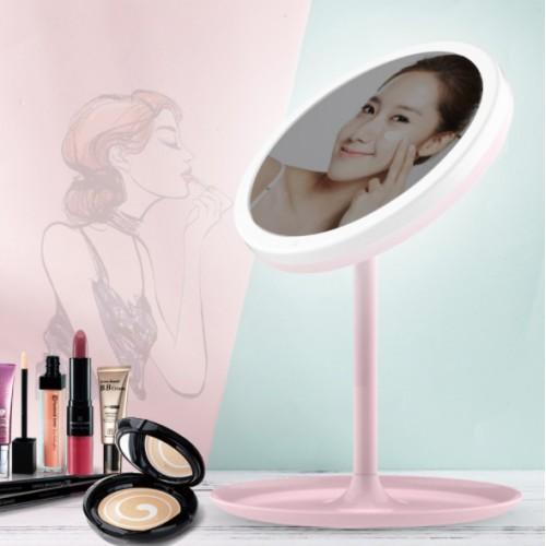 Espejo de maquillaje led con luz espejo de tocador portátil