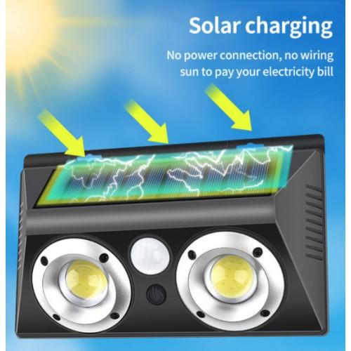 Lámpara solar de pared doble para exteriores con sensor de movimiento LED158