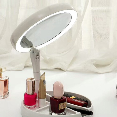 Espejo de maquillaje iluminado de doble cara HD