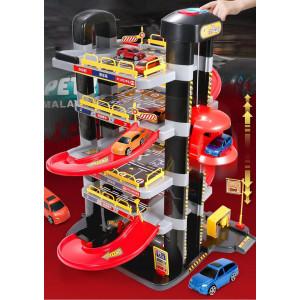 Estacionamiento de carros con elevador juguete