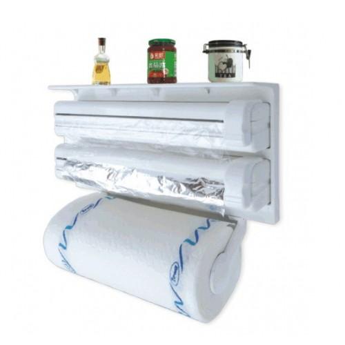 Soporte multifuncional para toallas de papel, soporte para envoltura de plástico, soporte para papel de aluminio, soporte para toallas de papel tipo pared, soporte para papel de aluminio de cocina multiusos