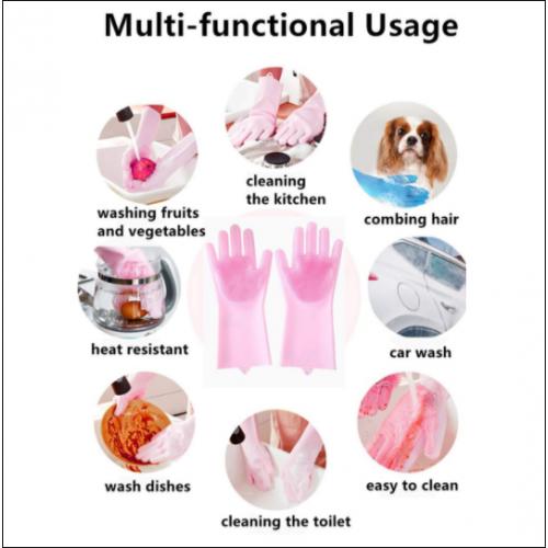 Guantes de cepillo para lavavajillas de silicona multifunciones