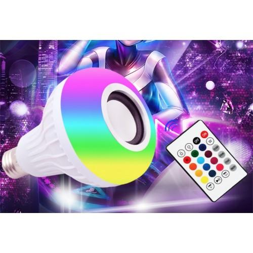 Foco lámpara con cambio de luz RGB, con bocina bluetooth y con control